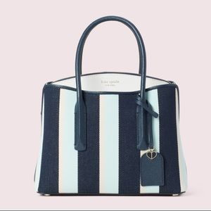 New Kate Spade Margaux canvas striped satchel